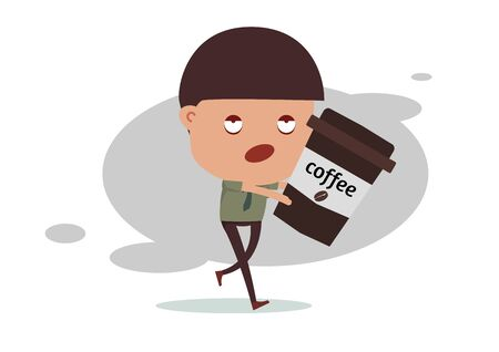 sleepless: Sleepless business man need coffee for energy Stock Photo