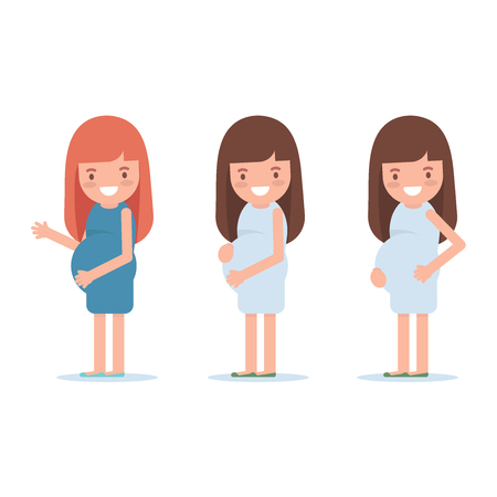 set of Pregnant woman character smile and look happy pregnancy concept flat design Vettoriali