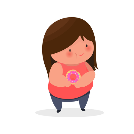 fat girl with donut in her hands healthy concept