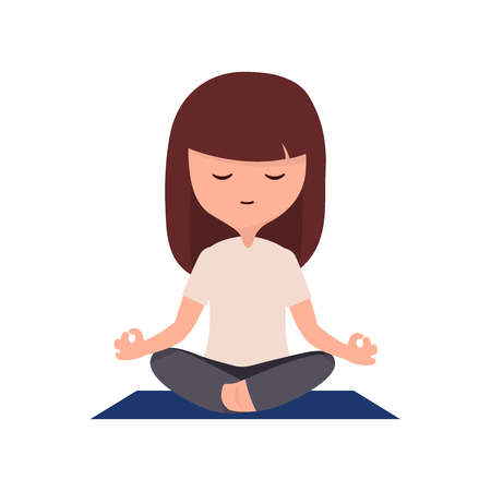 Meditation girl happy mind and life with a beautiful face relaxing avoid stress, relax concept