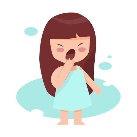 niña dormida y bostezando en pijama se duerme lista para ir a la cama, mujer agotada tomar una siesta Ilustración de vector