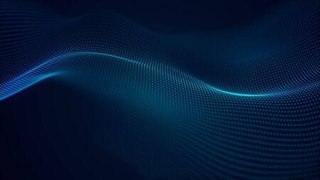schöner abstrakter wellentechnologiehintergrund mit digitalem effekt des blauen lichts unternehmenskonzept