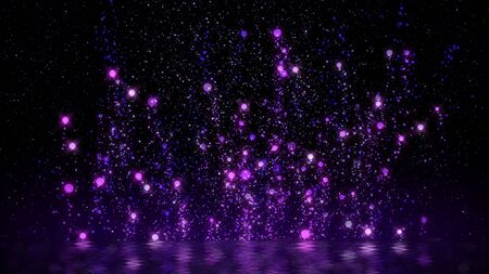 purple particle rising floating around abstract  glittering background festive season happy new year and merry christmas