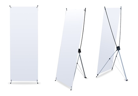 banner ads: blank banner stand display (3 view) template for design work Stock Photo