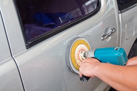 Car care with power buffer machine . Stock Photo - 11930224