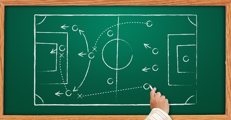 Hand writing a soccer game strategy on a blackboard. photo