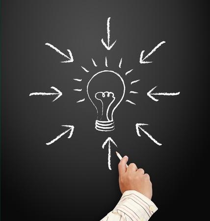 Hand drawing light bulbs and Arrow - creativity concept on a blackboard. Stock Photo - 11930189