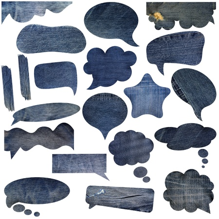 Blue jeans texture speech bubbles. With Save path for Change the background  photo