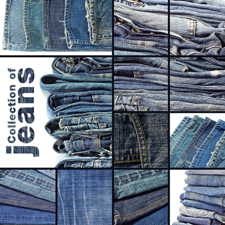 jeans fabric: Collection of blue jeans background template for design work  Stock Photo