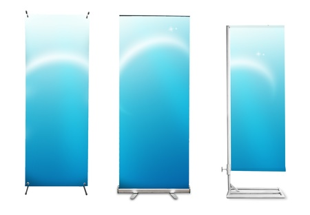 roll up: Set of banner stand display with blue identity background ready for use (Save path for design work)