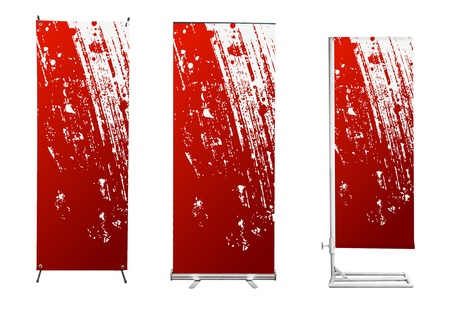 roll up: Set of banner stand display with red identity background ready for use (Save path for design work) Stock Photo
