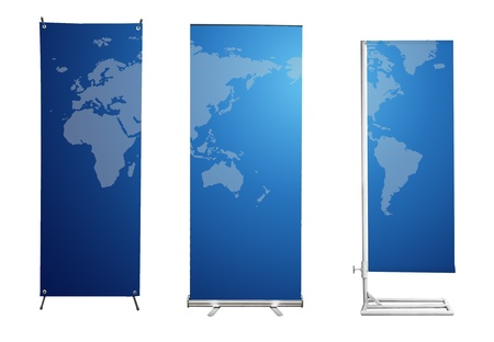 kakemono: Set of banner stand display with blue World map background. (Save path for design work)