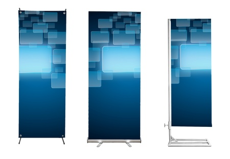 Set of banner stand display with blue touch screen interface background. (Save path for design work) Stock Photo - 11997802
