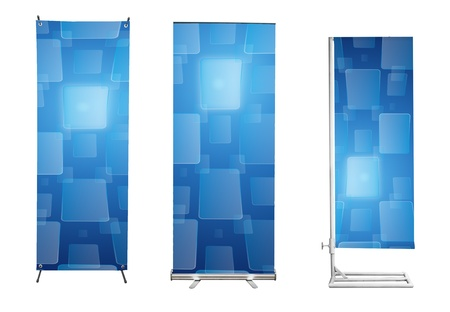retail display: Set of banner stand display with blue touch screen interface background. (Save path for design work)