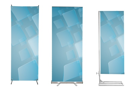 roll up: Set of banner stand display with blue touch screen interface background. (Save path for design work)