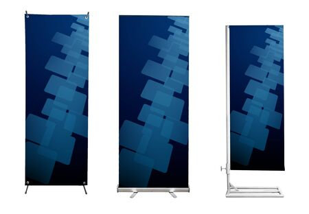 Set of banner stand display with blue touch screen interface background. (Save path for design work) photo