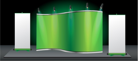 display stand: Green stand for your ad and Roll up banner. Vector template background