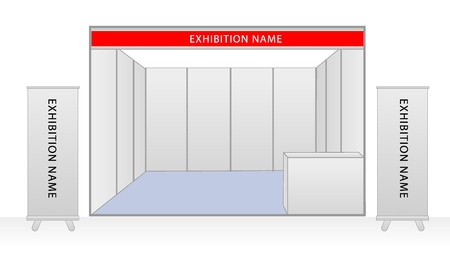 exhibition: Blank trade exhibition stand and roll up banner. vector template for design work Illustration