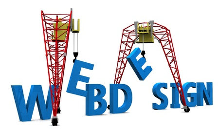 Construction site crane building Web Design 3D words. photo