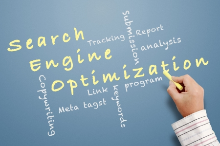 optimize: Search engine optimization ( SEO) written on chalkboard