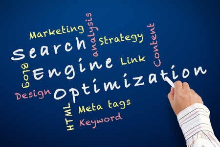 Search engine optimization ( SEO) written on chalkboard Stock Photo - 12550536