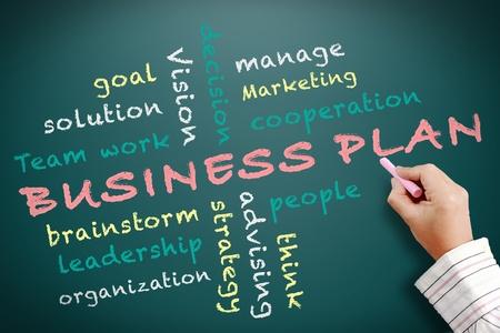 advising: Business plan written on chalkboard