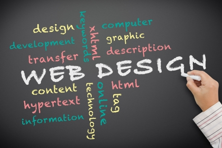 web design company: web design concept written on chalkboard Stock Photo