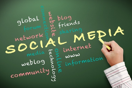 weblog: Social media concept written on chalkboard Stock Photo