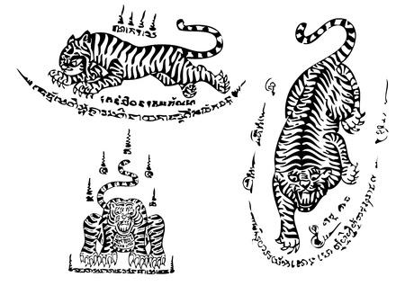 thai tattoo: Tiger traditional thai art Tattoo Ancient Illustration
