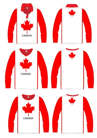 Long-sleeved sport shirt  Canada national team  vector template design  Vector