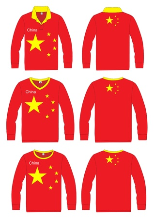 Long-sleeved sport shirt  China national team  vector template design  Vector