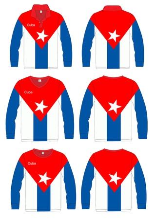 Long-sleeved sport shirt  Cuba national team  vector template design  Vector