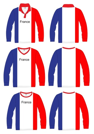 sleeves: Long-sleeved sport shirt  French national team  vector template design  Illustration