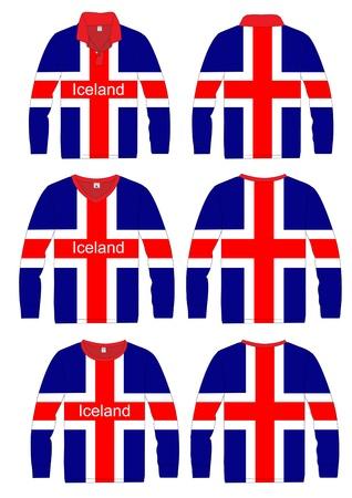 Long-sleeved sport shirt  Team iceland  vector template design  Vector