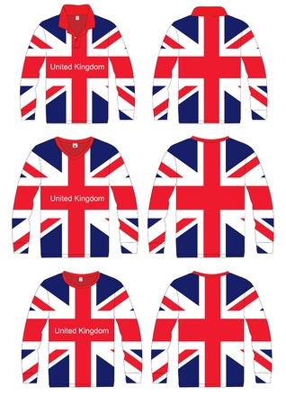Long-sleeved sport shirt  Team United Kingdom, England  vector template design  Vector
