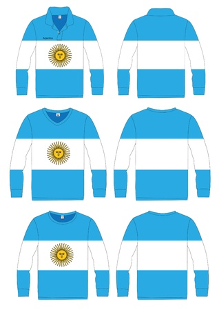 bandera argentina: Camisa de manga larga deporte en Argentina diseño de la plantilla vector de la bandera