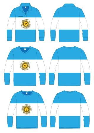argentina flag: Shirt Long-sleeved sport in Argentina Flag  vector template design