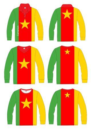 long sleeved: Shirt Long-sleeved sport in Cameroon Flag  vector template design