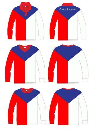 czech flag: Camicia a maniche lunghe sport in progettazione Flag template vector Ceca