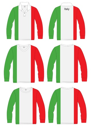 Shirt Long-sleeved sport in Italy Flag  vector template design Vector