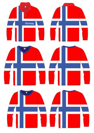 Shirt Long-sleeved sport in norway Flag  vector template design Vector