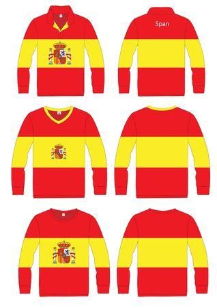 Shirt Long-sleeved sport in Span Flag  vector template design  Vector