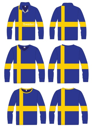 Shirt Long-sleeved sport in Sweden Flag  vector template design  Vector