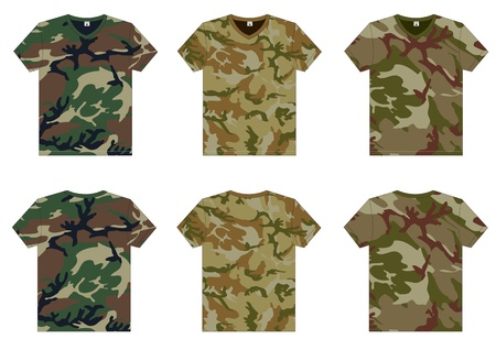 back view: Men s Military T-Shirts v-neck front and back view  Vector template