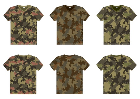 undershirt: Men s Military T-Shirts v-neck front and back view  Vector template
