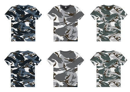 Men s Military T-Shirts v-neck front and back view  Vector template Vector