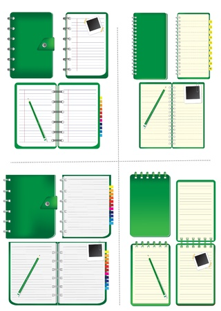 note pad: Set of green notebook and pencil, instant photo  Vector template for design work  Illustration
