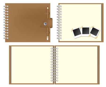 Set of Brown notebook and Keep the pencil, instant photo  Vector template for design work  Stock Vector - 12866811