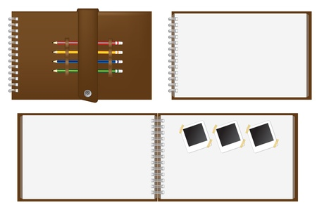 Set of Brown notebook and Keep the pencil, instant photo  Vector template for design work  Stock Vector - 12866812