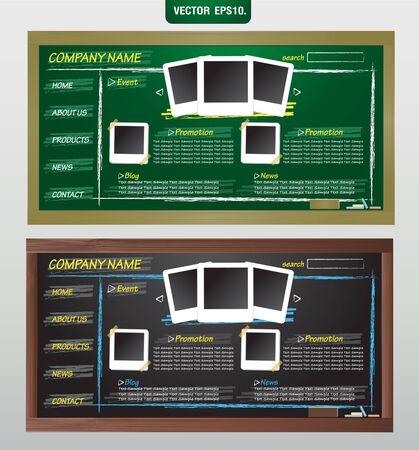 Website template design on blackboard  Vector template for design work  Vector